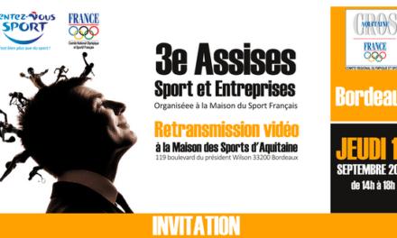 Retransmisson des 3e Assises Sport et Entreprises du CNOSF, le 18 septembre à Bordeaux
