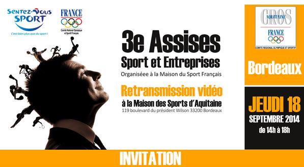 Retransmisson des «3e Assises Sport et Entreprises» du CNOSF, le 18 septembre à Bordeaux