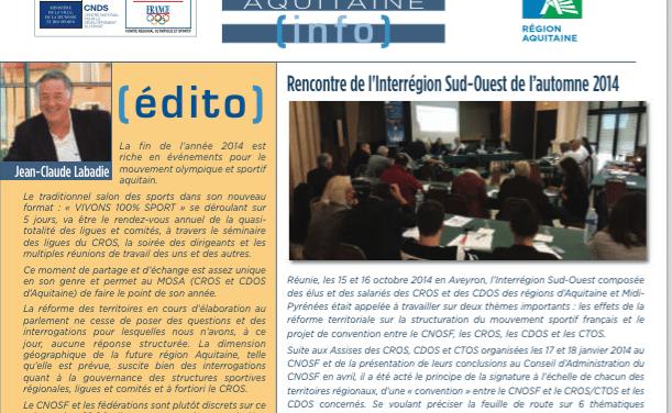 « Sport et handicap » dans le trimestriel du CROS d'Aquitaine de novembre 2014