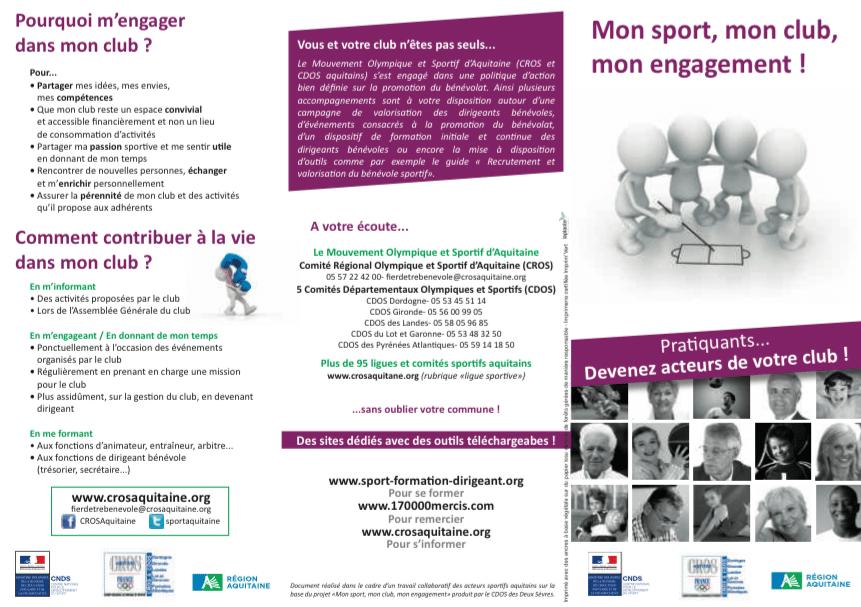 Flyer bénévolat club CROS Aquitaine 2015_recto