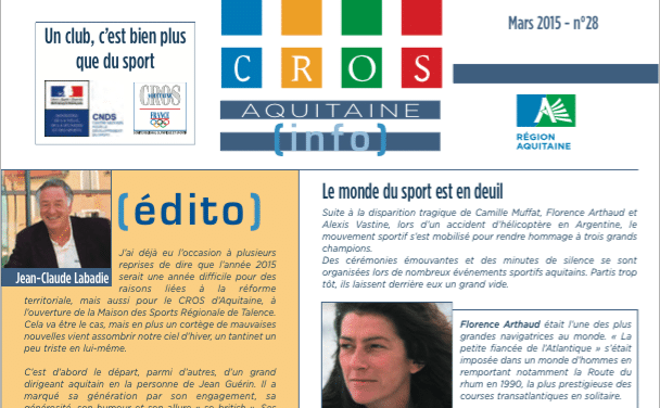 « Réforme territoriale : quel rôles et missions pour le Mouvement Sportif Olympique » dans le trimestriel du CROS d'Aquitaine de mars 2015
