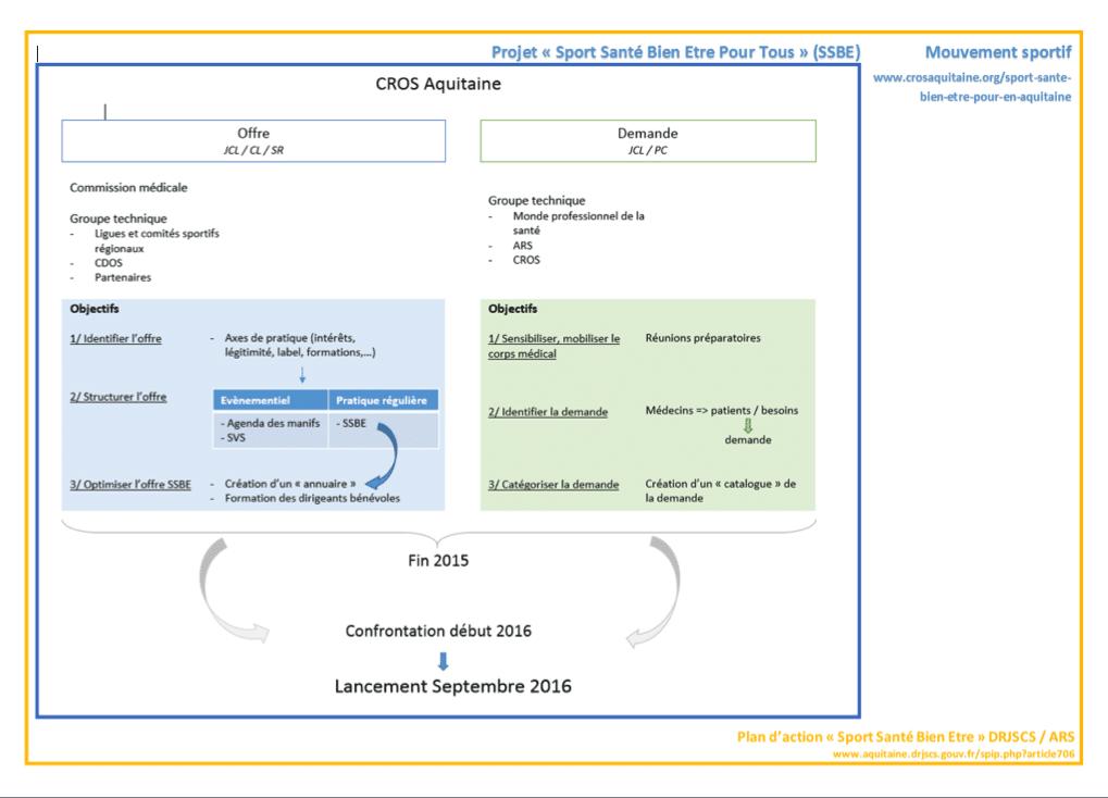 Description du plan d'action du projet SSBE PT au CROS Aquitaine