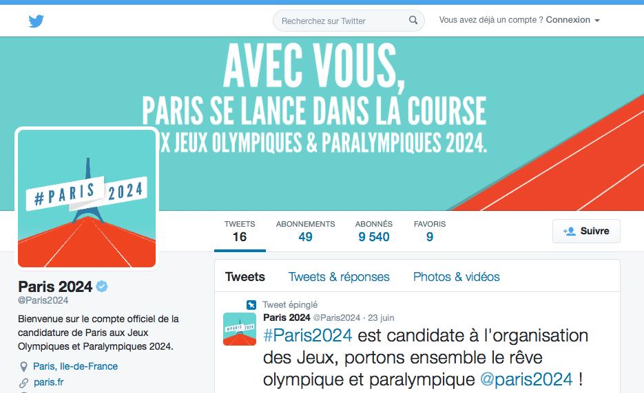 Compte twitter Paris2024