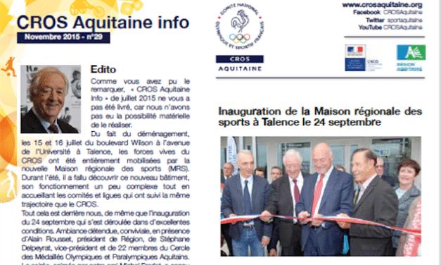 """""""Le mouvement sportif dans l'organisation territoriale"""" dans le trimestriel du CROS d'Aquitaine de novembre 2015"""