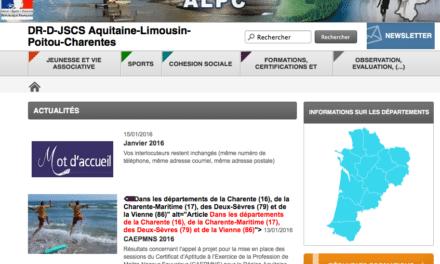 Un nouveau site pour la DR-D-JSCS Aquitaine Limousin Poitou-Charentes