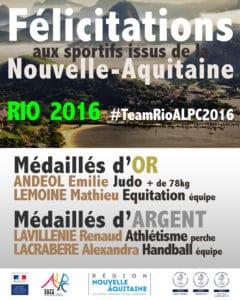 Sportifs médaillés issus de la NOuvelle-Aquitaine#TeamRIOALPC2016