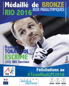 Damien TOKATLIAN médaillé de bronze #TeamRIOALPC2016