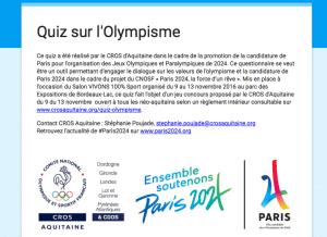 Quiz olympisme du CROS Aquitaine