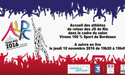 Les champions de RIO célébrés le 10 novembre au Salon VIVONS Sport de Bordeaux