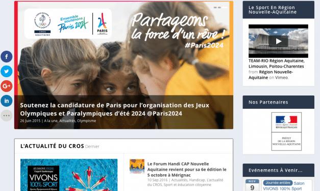 Le CROS d'Aquitaine lance son nouveau site internet !