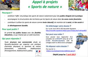 Appel a projet 2017 DRDJSCS NA sport nature