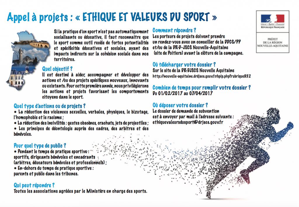 Flyer Appel à Projet Ethique et Valeurs du Sport