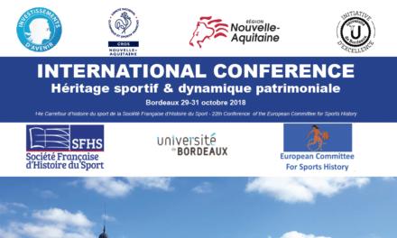 Colloque «héritage sportif & dynamique patrimoine», 29-31 octobre Bordeaux