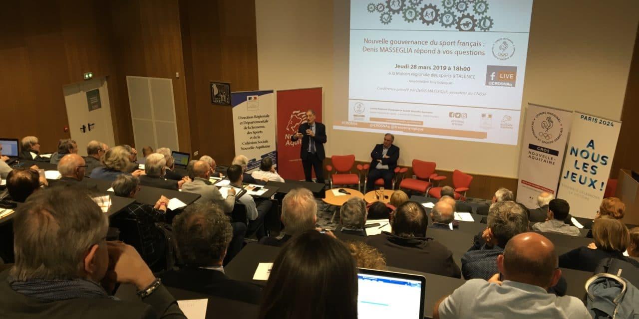 Gouvernance, Denis Masseglia répond aux questions du mouvement sportif Nouvelle-Aquitaine