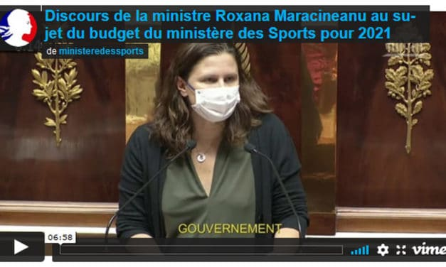Discours de la ministre Roxana Maracineanu au sujet du budget du ministère des Sports pour 2021